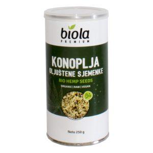 SJEMENKE KONOPLJE OLJUŠTENE RAW 250 g BIOLA konoplja tvornica bio nutrigold proteinsni prah salata