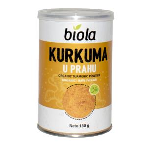 kurkuma u prahu bio organic biola 150 g kurkuma u prahu začin bio eko vitamini minerali željezo vlakna bakar kalij vitamin B6 protuupalno biobio tvornica zdrave hrane